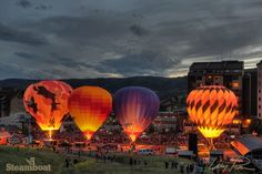 Balloon Glow during Hot Air Balloon Rodeo in Steamboat Springs, Colorado