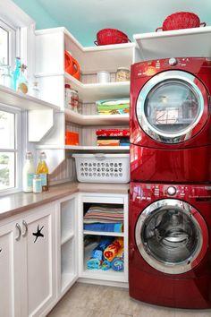 zeitgenössische smart Wäschereiräume waschmaschine rot regale