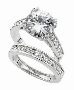City by City Ring Set, Silver-Tone Round Cubic Zirconia Engagement (7-3/8 ct. t.w.)