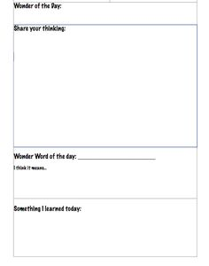 Wondering Through 2012 and Beyond: Student Forms to Use With Wonderopolis