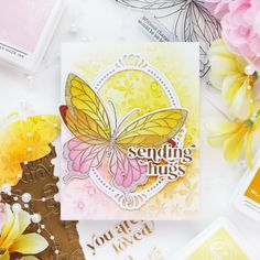 Pinkfresh Studio April 2021 Stamp, Stencil, Die, and Hot Foil Release – rainbow in november Studio Cards, Liquid Watercolor, Pretty Pink Posh, Thing 1, Mft Stamps, Pretty Cards, Clear Stamps, Flower Patterns, 1 Piece