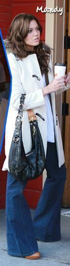 mandy moore, white winter coat, denim flares, slouchy bag