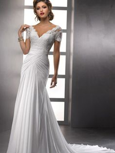 Sheath/Column V-neck Chiffon Ruffles Wedding Dresses #BK813