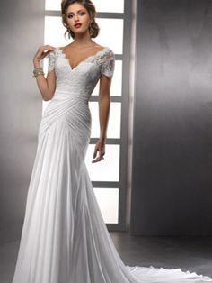 Sheath/Column V-neck Chiffon Ruffles Wedding Dresses #BK813