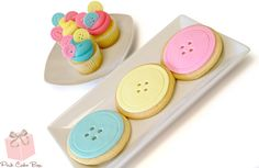 Cute as Button Baby Shower Cookies and Cupcakes