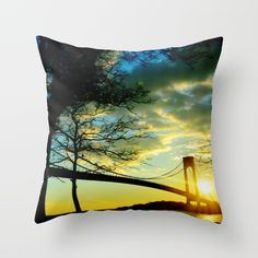 Buy New York Sunset Throw Pillow by haroulita!!. Worldwide shipping available at Society6.com. Just one of millions of high quality products available.