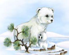 polar bear cub baby seal ~ Peace and Harmony by Penny Parker Teddy Bear Cartoon, Cartoon Birds, Art D'ours, Penny Parker, Baby Animals, Cute Animals, Teddy Bear Pictures, Creation Photo, Cartoon Sketches