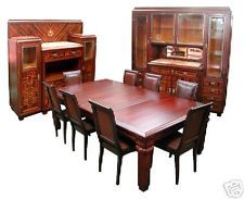 Elegant Art Deco 11-Pc. Dining Suite in Ebony de Macassar #3035