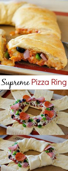 Supreme Pizza Ring - Casseroles, One Pan Meals - Easy Pizza Pizza Recipes, Appetizer Recipes, Cooking Recipes, Appetizers, Easy Recipes, Flatbread Recipes, Recipes Dinner, Empanada, Sauce Pizza