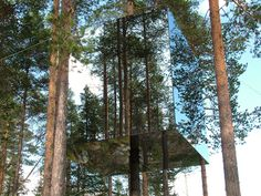The ultra-modern Mirror Cube at the Tree hotel, Sweden