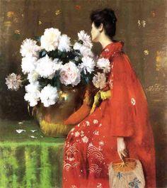 taishou-kun:  William Merritt Chase (1849–1916)Peonies - US - 1897