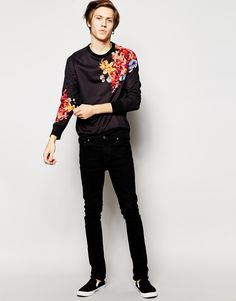 Image 4 of Hoxton Denim Floral Sweater