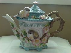 Fitz & Floyd: Cute Pagoda Birdhouse Teapot w/adorable birds; My daughter Iris got me this off of ebay... I love It:)