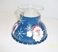Hand Painted Santa Candle Holder Upcycled by ToletallyPainted, $15.00