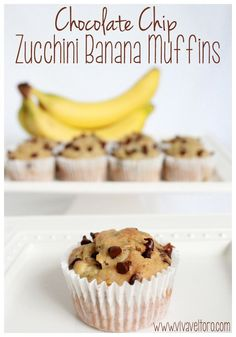 Even the pickiest eaters will love these Chocolate Chip Zucchini Banana Muffins. They're so easy to make and have hidden vegetables! #momapproved #kidfood #healthy #muffins #banana #zucchini #healthykidfood