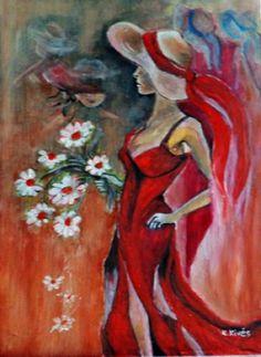 Összejövetelre érkező. Techno, Painting, Art, Watercolor Painting, Flowers, Hat, Art Background, Painting Art, Kunst