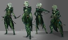 ArenaNet character designer Kristen Perry was presented was presented with a thorny task when asked to cultivate the plant-like sylvari race for Guild Wars Finding the balance between green-skinned humans and tentacle monsters. Character Creation, Character Concept, Character Art, Character Design, Character Reference, Cool Stuff, Alien Concept, Concept Art, Fantasy Craft