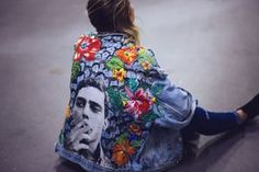 Chico Buarque oversized denim jacket custom with hand painted faces and textile flower patches. by @ceuhandmade