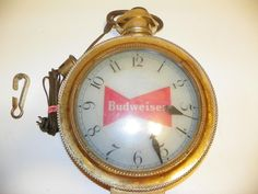 VTG 1960's BUDWEISER BUD ROTATING REVOLVING POCKET WATCH CLOCK: FOR PARTS/REPAIR