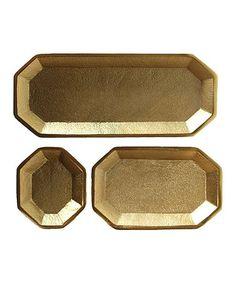Look what I found on #zulily! Three-Piece Gold Tray Set #zulilyfinds