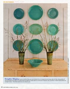 love plates on walls. I like this but all in different sizes and shapes