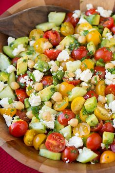 Tomato Avocado Cucumber Chick Pea Salad | @cookingclassy