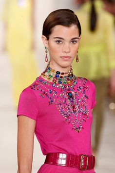 Wearable Jewelry Trends from NYFW: Ralph Lauren Runway Jewelry for NYFW Spring 2015 For other … Ralph Lauren Womens Clothing, Fashion Outfits, Womens Fashion, Fashion Trends, Fashion 2015, Fashion Details, Fashion Ideas, Fashion Inspiration, Jewelry Model