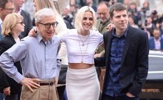Kristen Stewart, Jesse Eisenberg and Woody Allen at the Cannes PhotoCall for cafe society