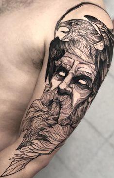 Hades Tattoo, Zeus Tattoo, Poseidon Tattoo, Rune Tattoo, Norse Tattoo, Viking Tattoos, Arm Tattoo, Tattoo Sleeve Designs, Sleeve Tattoos