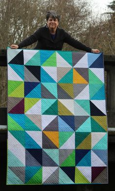 HST Love, okay, need to make one with solids, this is fabulous! | #quilt #solids