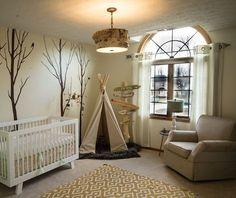 woodland nursery love the arrow curtain rod and wood lamp shade