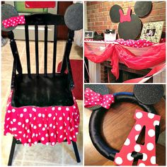 Minnie Mouse birthday party I could just buy a cheap chair for her and I love the mantel