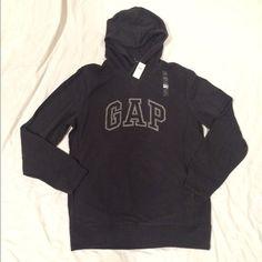 GAP black hooded sweatshirt GAP hooded sweatshirt, charcoal color with logo on front, brand new! GAP Tops Sweatshirts & Hoodies