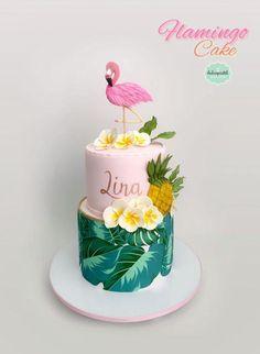 Torta Flamingo Cake by Giovanna Carrillo Flamingo Baby Shower, Flamingo Cake, Flamingo Birthday, Luau Birthday, Cool Birthday Cakes, Birthday Recipes, 14th Birthday Cakes, Luau Cakes, Party Cakes