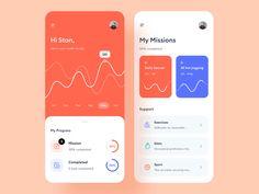 Health tracking app by Martin Dobrev for StanVision on Dribbble Ios App Design, Mobile App Design, User Interface Design, Mobile Ui, Design Design, Android Design, Layout Design, Coaching, Tracking App
