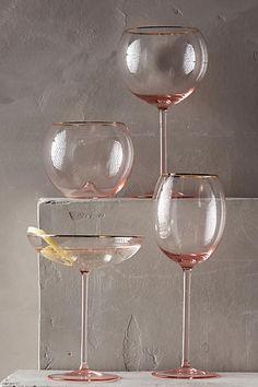 Gilded Rim Glasses || Pink & Gold Trim || ANTHROPOLOGIE