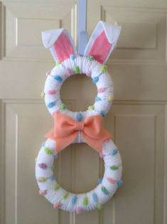 Easter Bunny Wreath Pastel Bunny by BlueHouseDesignz on . Wreath Crafts, Diy Wreath, Wreath Ideas, Tulle Wreath, Burlap Wreaths, Diy Crafts, Easter Projects, Easter Crafts, Hoppy Easter