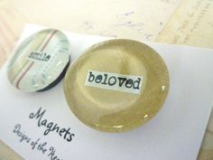 Round Glass Magnet Set  Smile Beloved by designsoftheheart on Etsy, $5.00