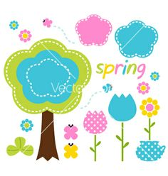 Spring colorful flowers and nature design elements vector 1223467 - by lordalea on VectorStock®