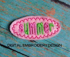 Summer Snap Clip Cover Digital Feltie by EmbroiderThatNow on Etsy, $2.99