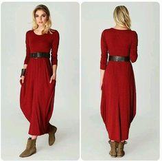 Sukienka maxi,dresowa, kieszenie,bordo, r.S