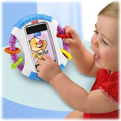 This Fisher-Price iPod/iPhone protective case is SO cute & affordable!  They have iPad ones, too!