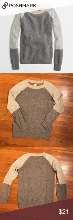 J. Crew Warmspun Waffle Colorblock Sweater PRODUCT DETAILS Viscose/nylon/merino wool. Hits at hip. Long sleeves. Rib trim at neck and cuffs. Very cute, soft and warm. J. Crew Sweaters Crew & Scoop Necks
