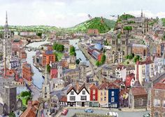Martin Stuart Moore -Memories of Bristol Bristol Fashion, Bristol England, Bristol City, Cityscape Art, City Maps, Urban Sketching, Best Cities, Great Places, Places