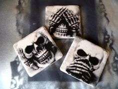 NEW Hear No Evil See No Evil Speak No Evil Coaster by BazookaJenn, $15.00
