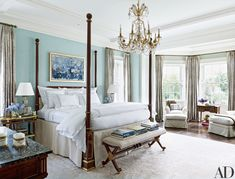 A Joan Mitchell painting presides over the master bedroom; Cullman & Kravis designed the bed and bench, both of which are upholstered in a Kravet fabric. The curtains are of a Lee Jofa silk, the bed linens are by Matouk, the side table is circa-1920 Jansen, and the rug is by Beauvais Carpets.