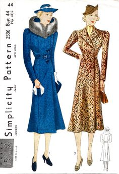 Vintage Sewing Pattern 1930s 30s coat detachable fur collar 2 styles sz large bust 44 repro by LadyMarloweStudios on Etsy https://www.etsy.com/listing/492593058/vintage-sewing-pattern-1930s-30s-coat