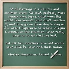 A quote on miscarriage from the book Animal Dreams by Barbra Kingsolver.