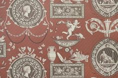 Roman Toile Wallpaper Pictorial wallpaper with cameos, together with cherubs and bowls of fruit, in White and brown on an orange red background