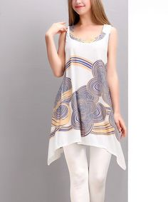 Look what I found on #zulily! White & Blue Cloud Sidetail Tunic by Reborn Collection #zulilyfinds